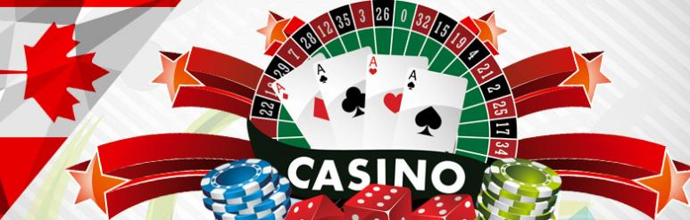 Canada casino, card roulette wheel and chips